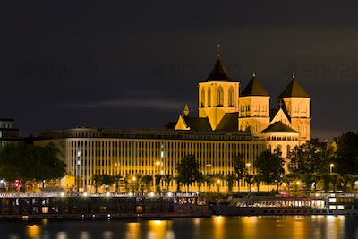 Church St. Kunibert In Cologne At Night, Germany