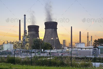 Colorful Refinery At Sunset