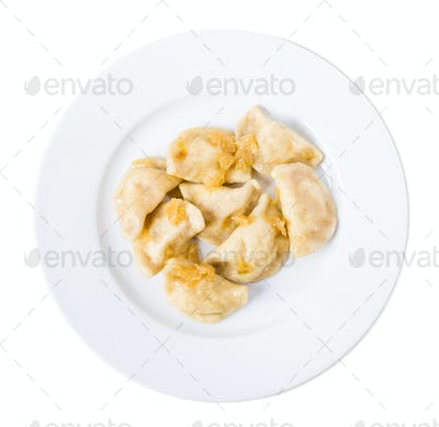 Ukrainian dumplings vareniki with mashed potatoes.