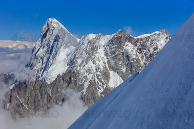 Mont Blanc mountain, view from Aiguille du Midi. France