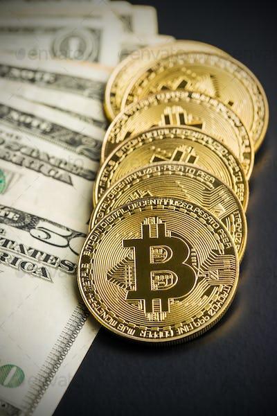 Golden bitcoins. Digital cryptocurrency.