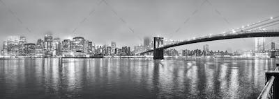 Manhattan on a foggy night, New York, USA.