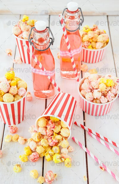 Popcorn and lemonade