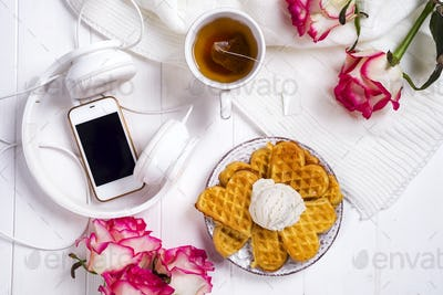 Morning breakfast with waffles,