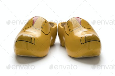 Pair of traditional yellow Dutch wooden shoes