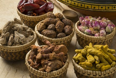 Baskets with North African dried herbs