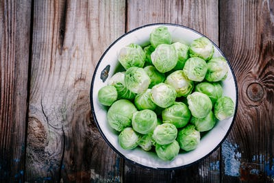 Fresh organic Brussels sprouts in a bowl