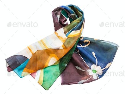 knotted hand painted batik silk scarf isolated