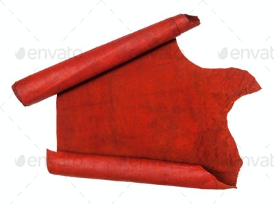 unrolled scroll from red hide isolated on white