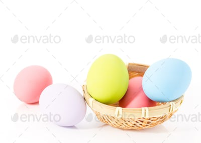 Easter eggs in basket on white