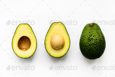 Macro shot of avocado isolated on white background