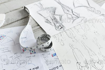 Closeup of sketched cloth designs