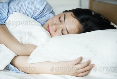 A woman sleeping