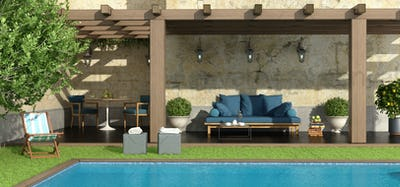 Garden with pergola and pool