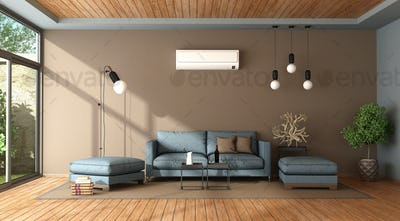 Blue and brown living room with air conditioner