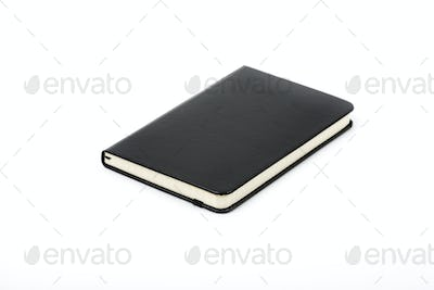Black notebook on a white background