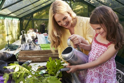 Mother And Daughter Watering Hanging Basket In Greenhouse