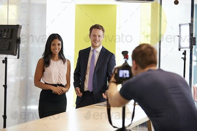 Three people making a corporate demonstration video