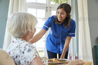 Care nurse serving dinner to a senior woman at home