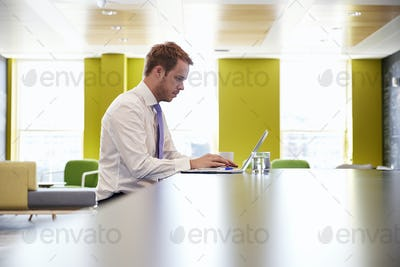 Businessman using laptop in an office meeting area