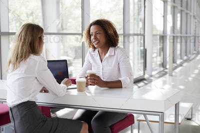 Two young businesswomen at a meeting  talking, close up
