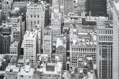 New York City black and white aerial picture, USA.
