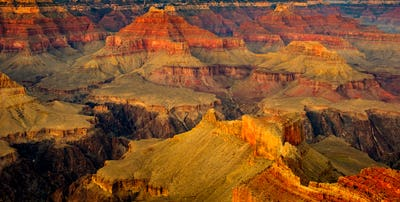 Grand canyon landscape detail view with dark contrast and colour