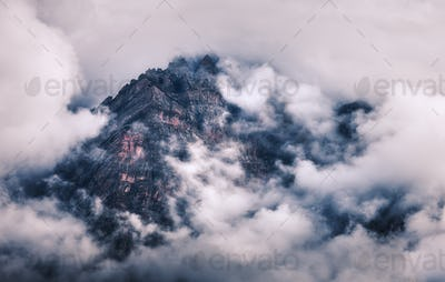 Mountains in clouds in overcast evening in Nepal