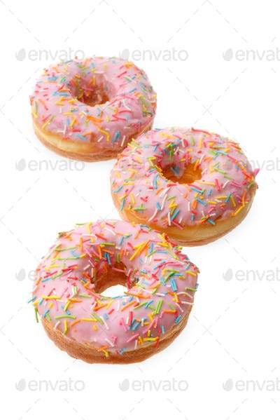 Group of pink donuts