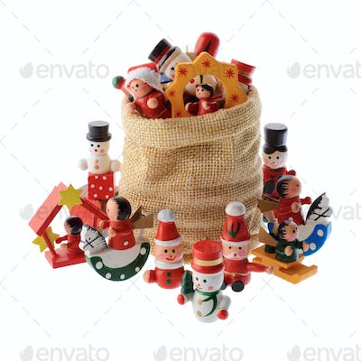 Lot of multicolored Christmas decorations in a Santa Claus bag