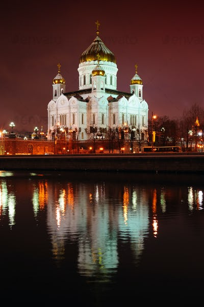 Cathedral of Christ the Savior by night, Moscow, Russia