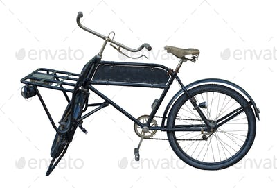 Isolated Vintage Delivery Bike With Sign
