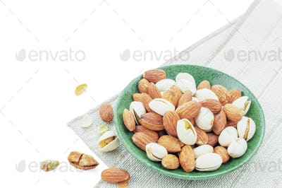 Many almonds in dish