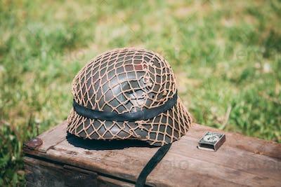 Close Metal Helmet Of Infantry Soldier Of Wehrmacht, Nazi German