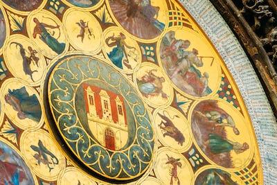 Astronomical Clock In Prague, Czech Republic. Close Up Photo