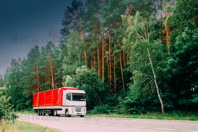 Truck, Tractor Unit, Prime Mover, Traction Unit In Motion On Cou