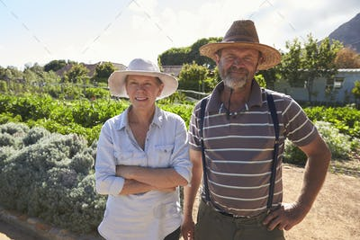 Portrait Of Mature Couple Standing On Community Allotment