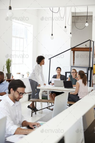 Woman briefing colleagues in an open plan office, vertical