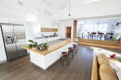 Home Interior With Open Plan Kitchen And Dining Area
