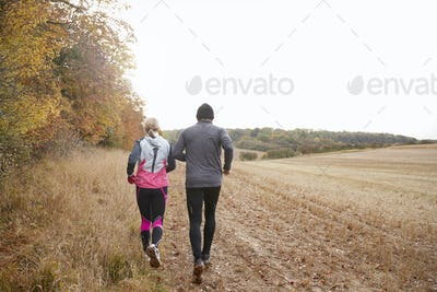 Rear View Of Mature Couple Running Around Autumn Field