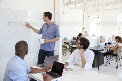 Young white man using a whiteboard in an office meeting