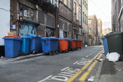 Manchester, UK - 10 May 2017: Group Of Wheelie Bins In Manchester Street