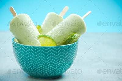 Lime and coconut milk popsicles