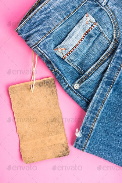 Jeans trousers label template mockup