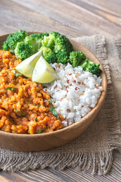 Bowl of red lentil curry