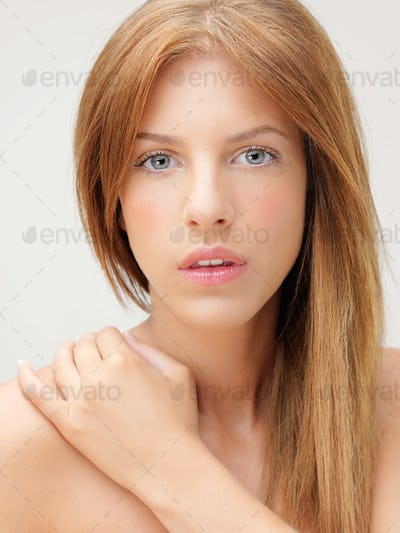 closeup portrait beautiful woman hand shoulder