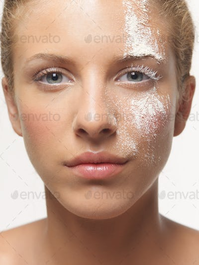 beauty portrait woman white powder on face