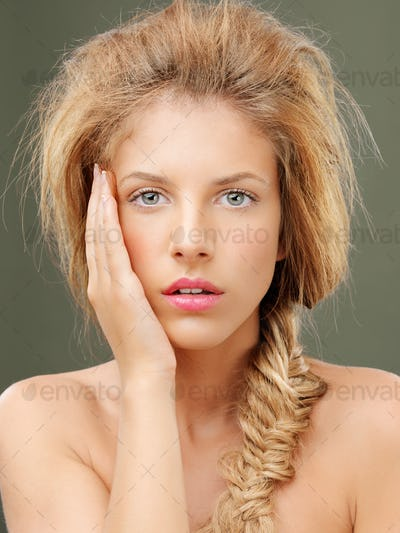 studio portrait beautiful blonde woman blue eyes