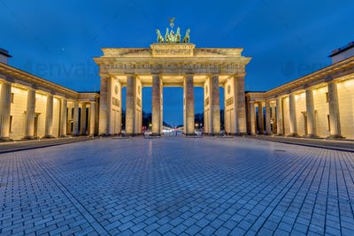 The famous illuminated Brandenburg Gate in Berlin