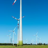 Wind energy plants on a sunny day